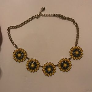 green and yellow statement necklace